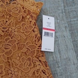 Nanette Lepore Tops - Nanette Lepore Gold Mock Neck Lace Top NWT
